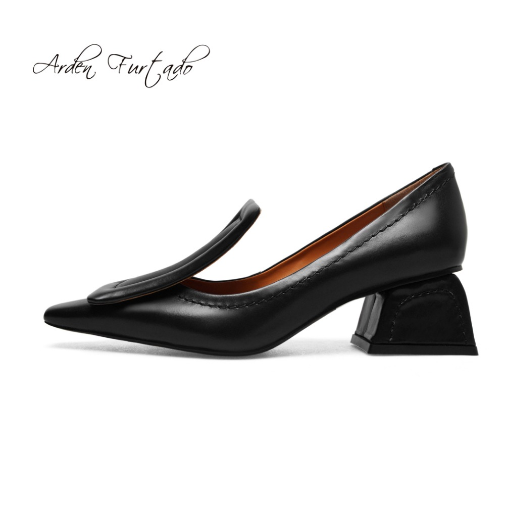 Arden Furtado 2018 spring autumn genuine leather slip on fashions shoes med  heels 5cm square toe yellow grey pumps casual women-in Women s Pumps from  Shoes ... 531ac9146d27