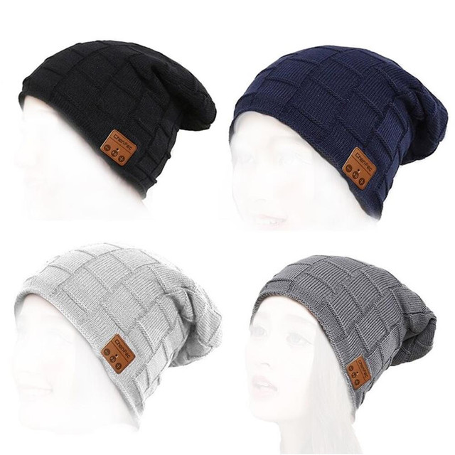 אופנה כפת כובע כובע אלחוטי Bluetooth אוזניות אוזניות אוזניות רמקול מיקרופון החורף חיצוני ספורט סטריאו חכם מוסיקה כובע