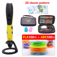 2018 V6 new 3d pen3d printer pen version with 200M abs/pla 1.75mm safety filamet with Storage bag Christmas present fast send|3D Pens|   -