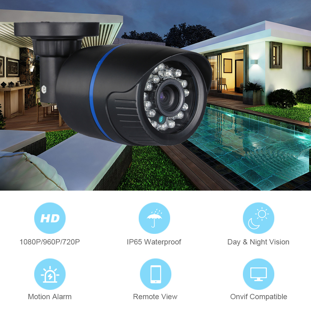 Image 2 - Hamrolte ONVIF IP Camera 2.8mm Lens Wide Angle 1080P Outdoor Nightvision Surveillance IP Camera Motion Detection Remote Access-in Surveillance Cameras from Security & Protection