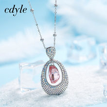 Cdyle Necklace Women Pendants Embellished with crystal Fashion Jewelry Pink Women Girl Fashion Sweater Neckalce(China)