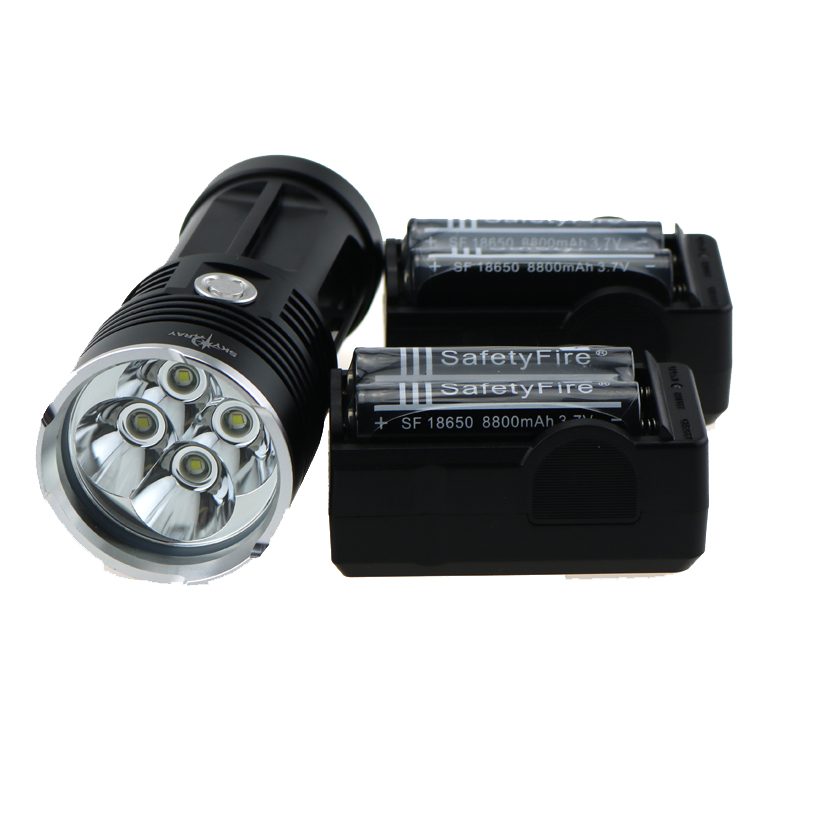 ФОТО skyray king 40W 4x CREE XM-L T6 5000 lumens tactical Led Flashlight Torch Lamp for Work Hunting+ 4x 18650 Battery + Charger