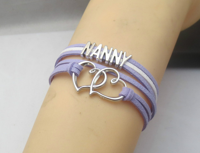Top charm leather bracelet name bracelet infinity wrap bracelet NANNY  LS23