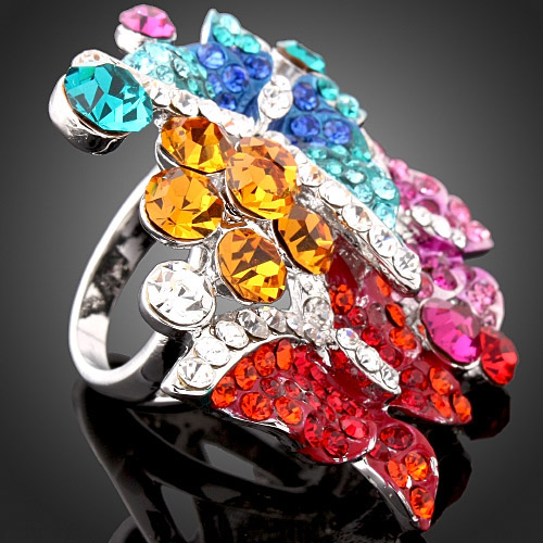 CHRAN Vintage Style Colorful Butterfly Promised Wedding Rings for Women Lovely Rhodium Plated Crystal Engagement Rings Jewelry