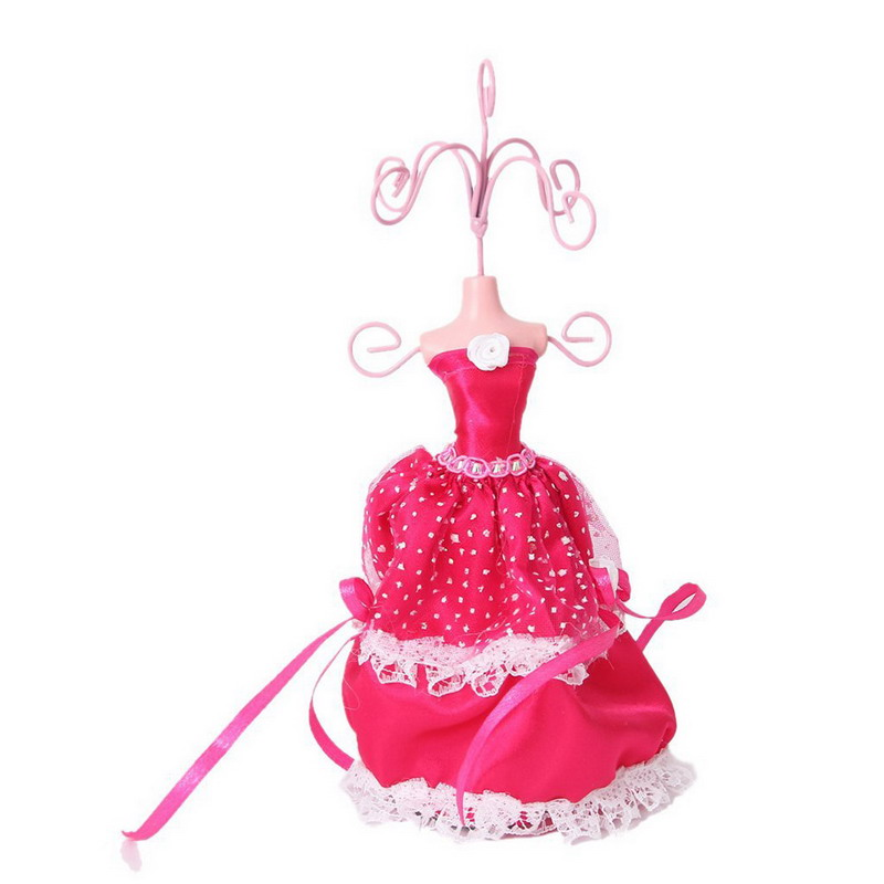 ホットファッションレースドレスイヤリングネックレスジュエリーラックイヤリングホルダー王女モデル表示手作りレディ図