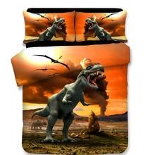 NEW 3D Dinosaur Cartoon Children Duvet Cover Set 3Pcs Set Twin Full Queen King Bedding Sets housse de couette luxury bedclothes