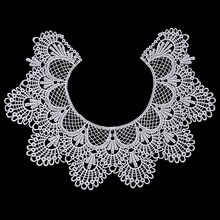 Smiry 1pc 2Colors Embroidery Round Ripple Neck African Lace Fabric Collar,DIY Handmade Lace Fabrics For Sewing Supplies Crafts