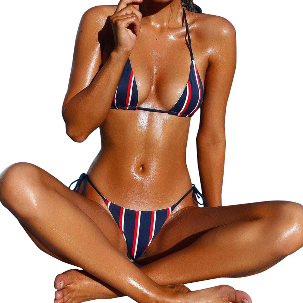Sexy monokini bikini Women Stripe swimsuit Bandage Padded Bra Beach Halter Bikini Set Swimwear two pieces brazilian tankini 2017 may beach halter bikini one pieces indoor asian swimsuit miley cyrus costume departure beach black swimsuit seafolly