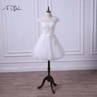 ADLN Cheap Lace Short Wedding Dress Scoop Cap Sleeve A Line Mini Organza Bridal Gowns For