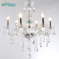 Modern Transparent Art Decorate European Candle Crystal Chandeliers Lustre for Dining Room Living Lobby Restaurant E14 LED Bulbs