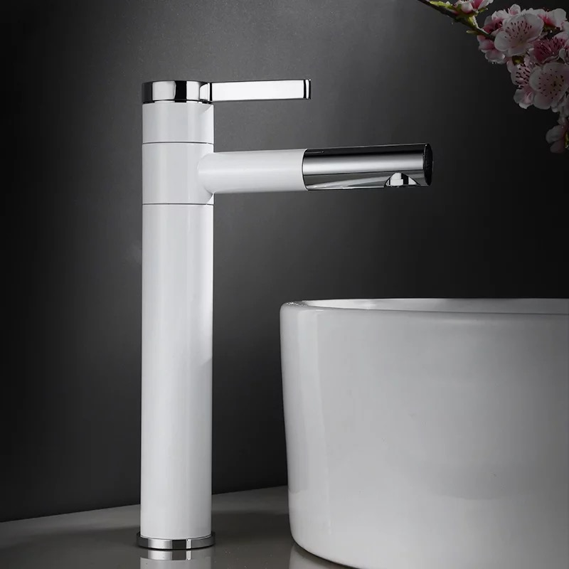 Swivel Spout Brass White and Chrome Finish Bathroom Faucet Vanity Vessel Sinks Mixer Cold And Hot Water Tap D