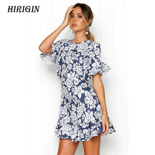 3f49b7e4535 HIRIGIN Women Blue Flower Print Backless Short Sleeve Mini Dress Ladies  Summer Beach Holiday Dress Size S XL