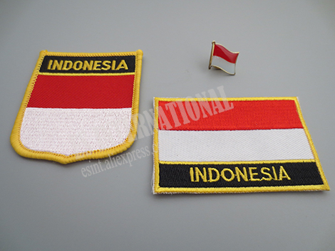 National Flag Embroidery Patches and Metal Flag Lapel Pin INDONESIA