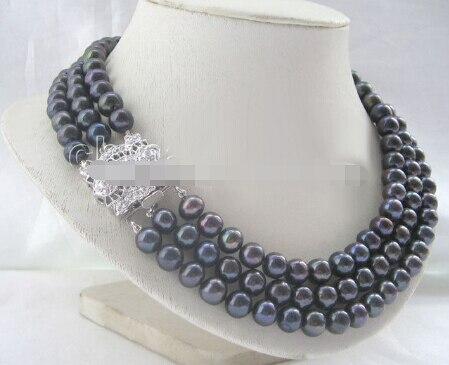 Magnifique collier de perles deau douce rondes noires AAA 17-19 8-9 MM-fermoir en zirconMagnifique collier de perles deau douce rondes noires AAA 17-19 8-9 MM-fermoir en zircon