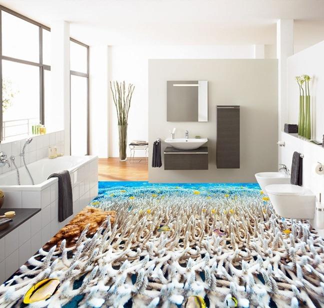 US $25.4 50% OFF 3 d pvc bodenbelag benutzerdefinierte wandaufkleber Ozean  weiße koralle tropical fisch 3 d bad bodenbelag malerei foto wallpaper für  ...