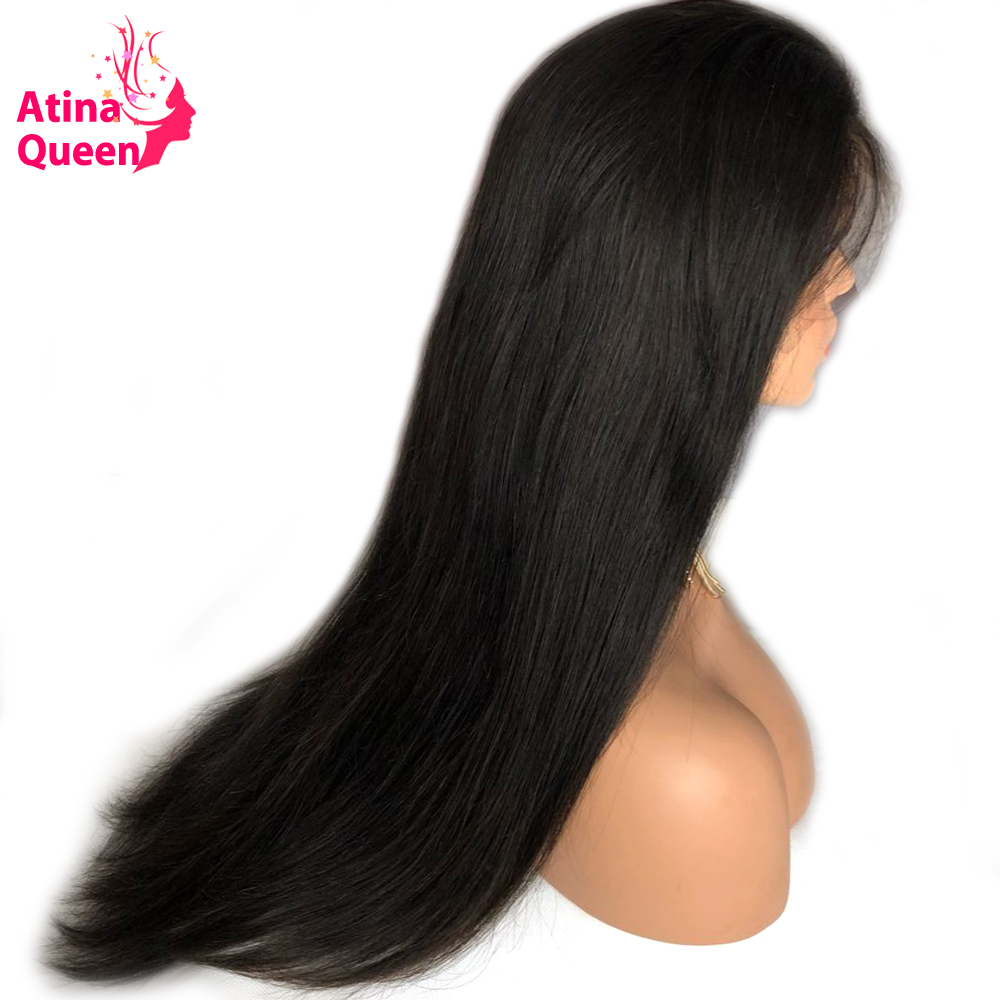 Atina Queen Gluless Lace Front Human Hair Wigs For Women 150 Density Brazilian Silky Straight Lace Wig with Baby Hair Remy Black-in Human Hair Lace Wigs from Hair Extensions & Wigs    3