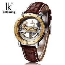 Lujo Hombres Mecánicos Reloj Superior de la Marca IK Automático Esquelético de La Manera Correa de Cuero Reloj Casual Reloj Relojes A Prueba de agua