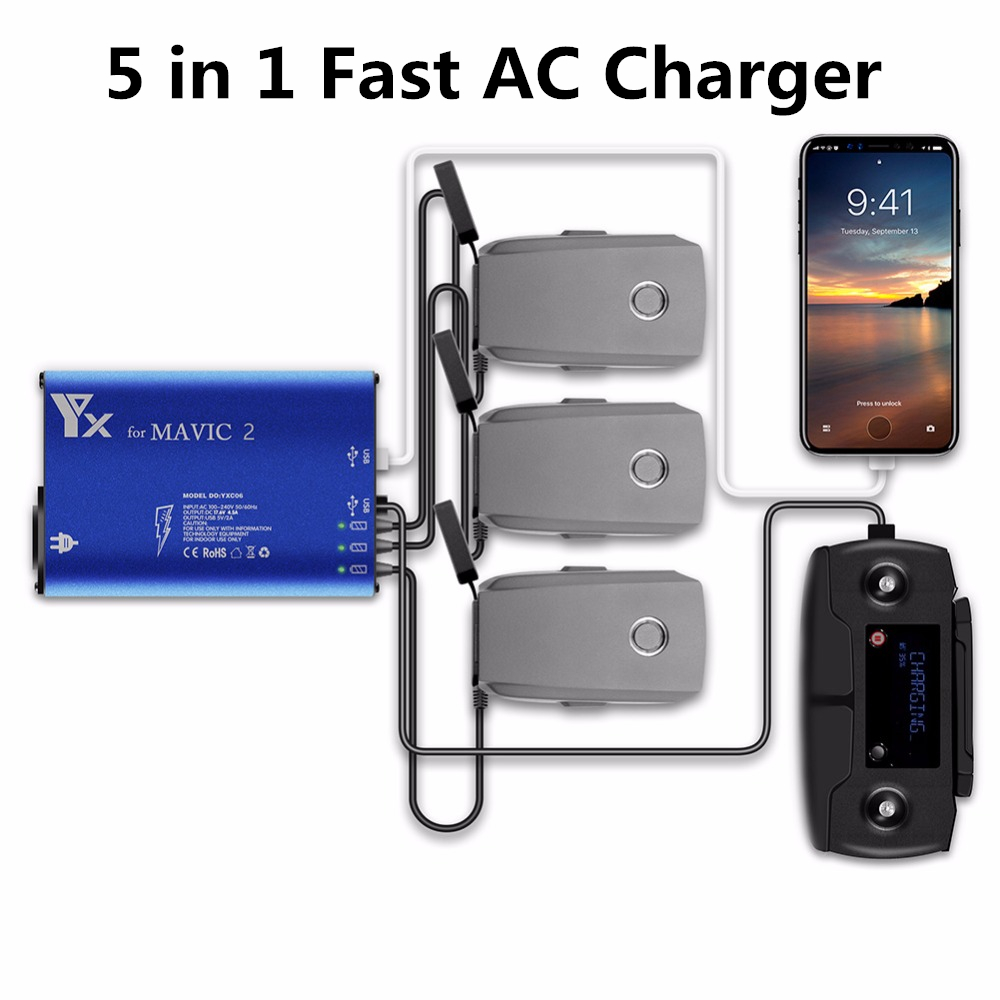 YX Mavic 2 Pro Drone Battery Charger 5 In1 Charging Hub For DJI Mavic 2 Zoom Pro Intelligent Battery Car Charging Adapter