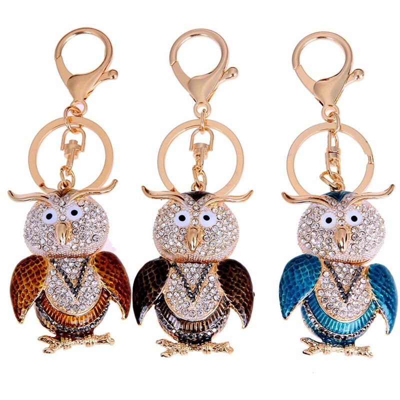 Owl Keyring Crystal Rhinestones Key Chain Ring Holder Bag Auto Car Keychain Alloy Metal Portachiavi Girl Bag Feminino Accessory