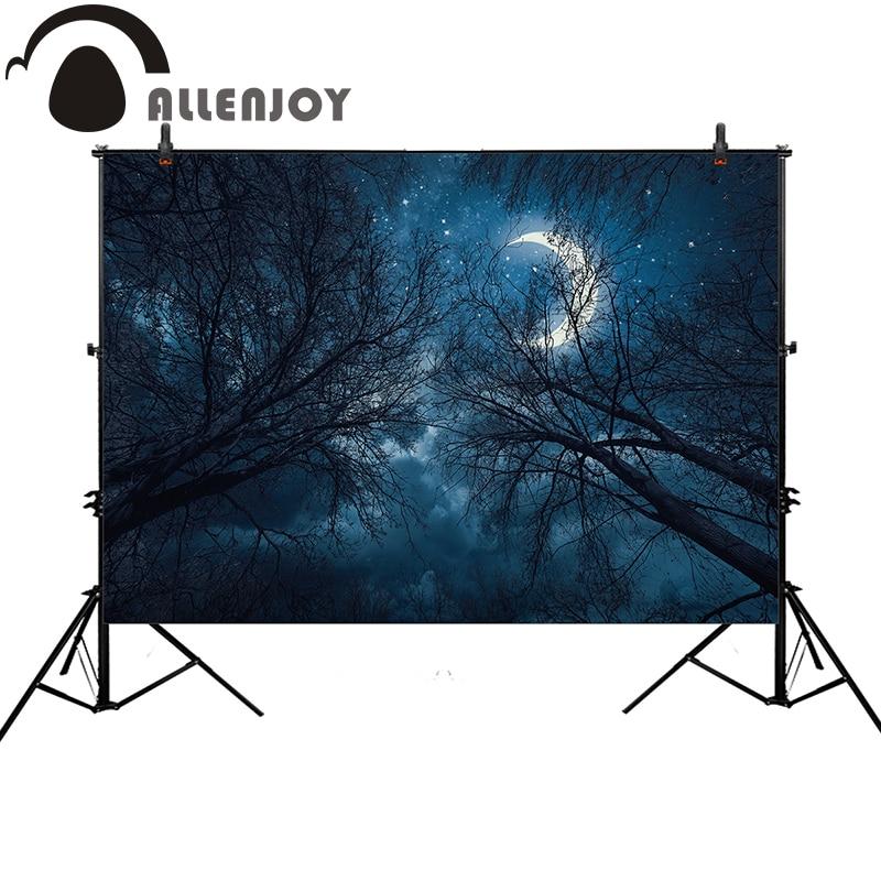 Allenjoy写真の背景ハロウィーンの夜の森ムーンダークブルーツリー背景写真スタジオフォトプリンターフォトコールパートデルケーブル同軸