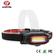 PANYUE Adjustable COB Front Head Lights LED Flashlight Lamp 3 Modes Use 2*AAA Battery Hunting Waterproof Headlamp
