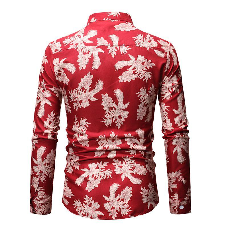 Fashion Blouse Men Casual Hawaiian Shirt Plant flower Mens Long sleeve Shirt Black Red Blue New Camisa masculina in Casual Shirts from Men 39 s Clothing