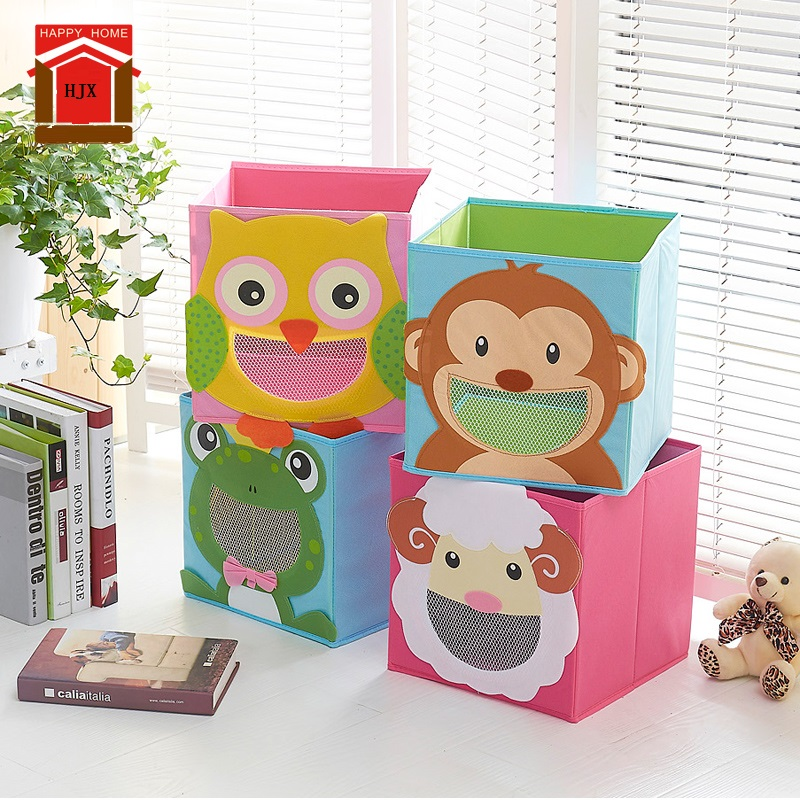 3D Cartoon Non-Woven Fabric Children Toy Storage Box Animal Embroidery Pattern Foldable Clothes Storage Boxs Underwear Rangement