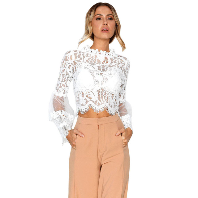 Spring Autumn 2020 Ladies New Hollow Out Flower Blouse Casual Lace Patchwork Tops