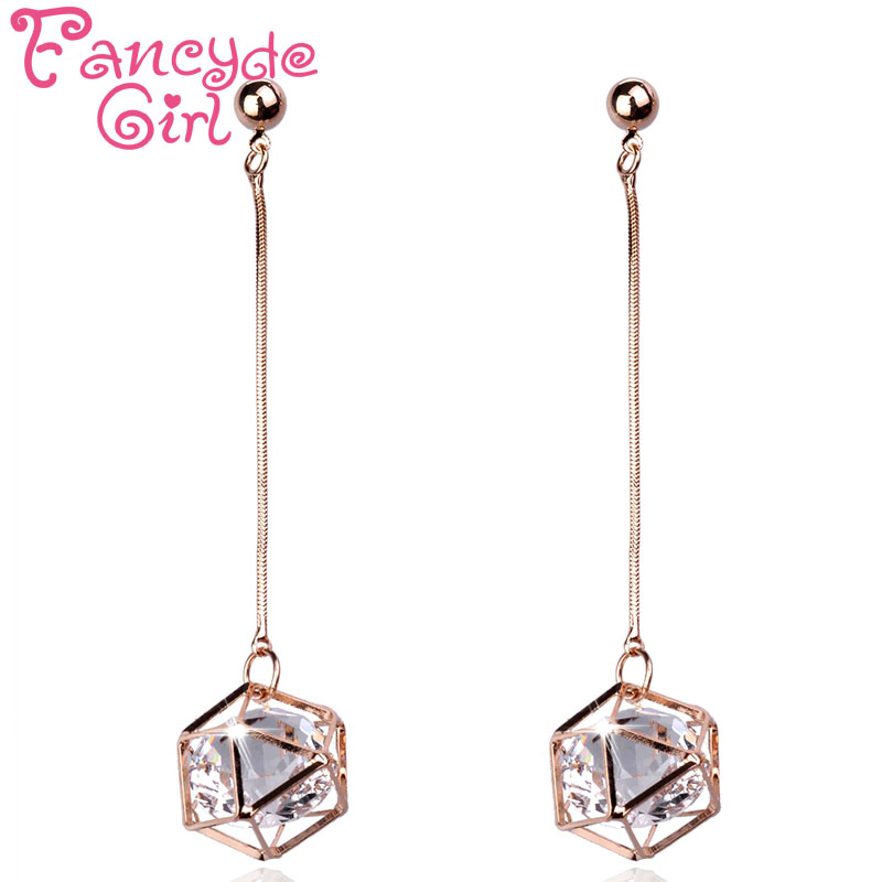 ef0bcecfd Fancyde Girl New Style Fashion Earring Jewelry Three Colors Cube Crystal  Round Pendant Gold Color Crystal Drop Earrings Women