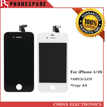 10pcs/lot High Quality LCD For iPhone 4 4s LCD Display with Touch Screen Digitizer Out Glass Panel Assembly Original White Black