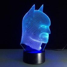 배트맨 슈퍼 히어로 참신 램프 7 색 변경 시각 환상 LED 라이트 장난감 액션 그림 생일 선물