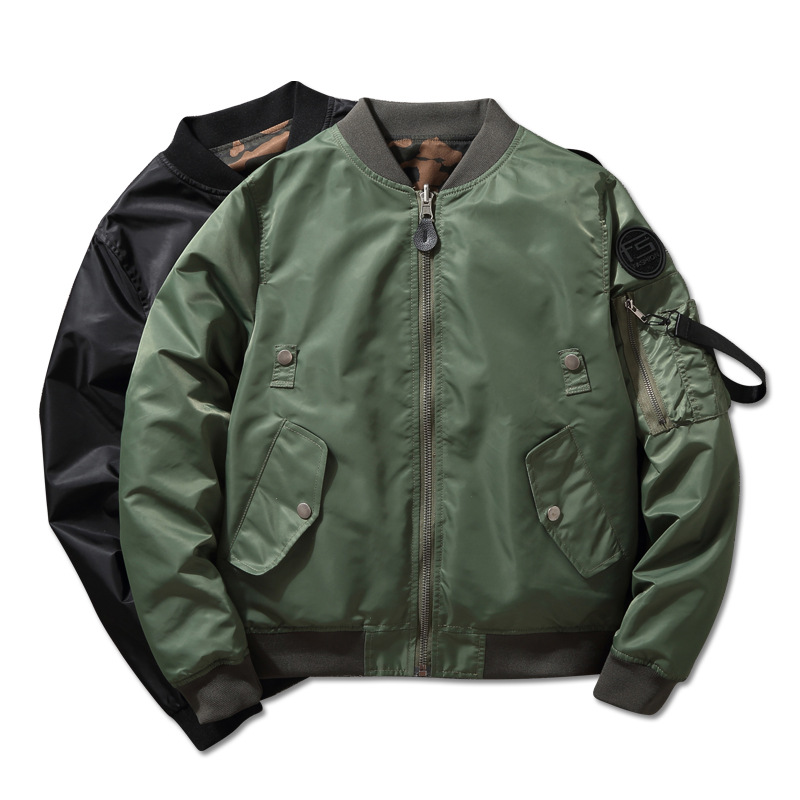 2019 Spring Autumn Men's Fashion Double-Side Wear MA-1 Flight Jacket Camouflage Print Casual Bomber Jacket Waterproof Coat Brand