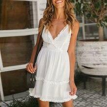 e388f3a65 Streetwear vestido de verano sin mangas con volantes blanco las mujeres  vestido elegante Vestidos de cuello en V vestido Cruz Co.