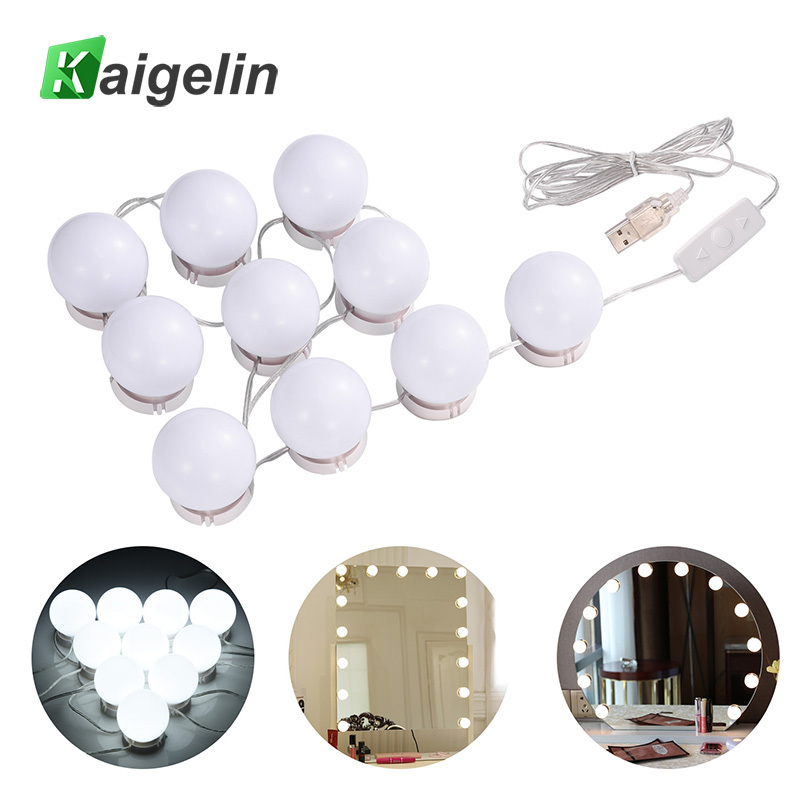 Hollywood LED Wall Mirror Vanity Light 6-level Dimming Make Up Light USB Power Supply 10pcs Bulbs Kits For Makeup Dressing Table ark light vintage rural style pendant light american wrought iron led pendant light cottage dining room living room study room