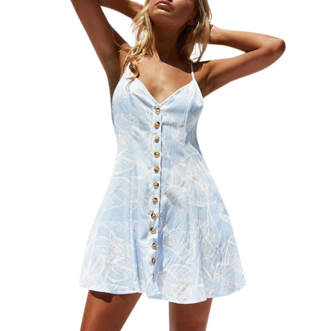Женское пляжное платье на бретелях с v образным вырезом, летнее пляжное платье на пуговицах с цветочным принтом и карманами без рукавов, эле