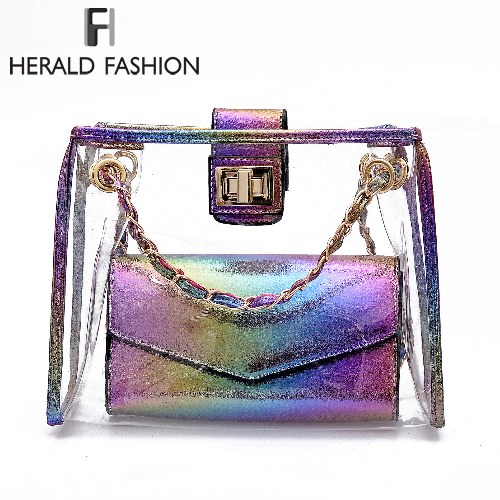Herald Fashion Transparent Laser Women Shoulder Bag Jelly Candy Summer Beach Composite Bag Lady's Messenger Bags Bolsa Feminina