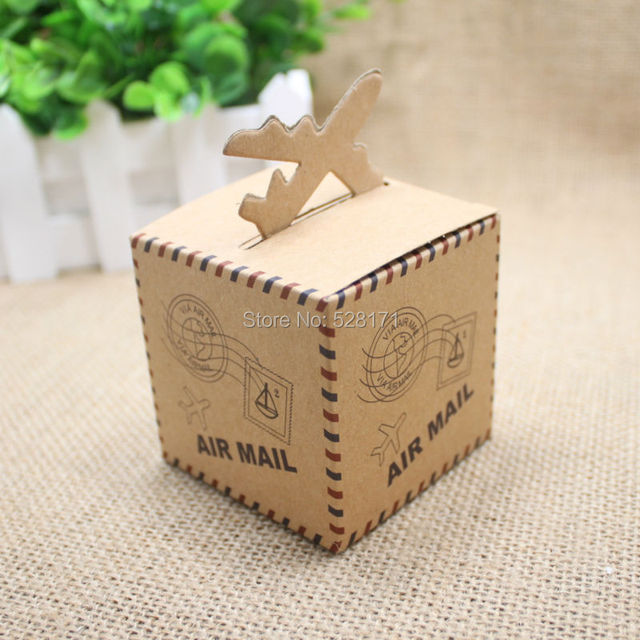 100pcslot casamento wedding decoration mariage vintage kraft airplane candy box wedding favors and gifts - Aliexpress Decoration Mariage