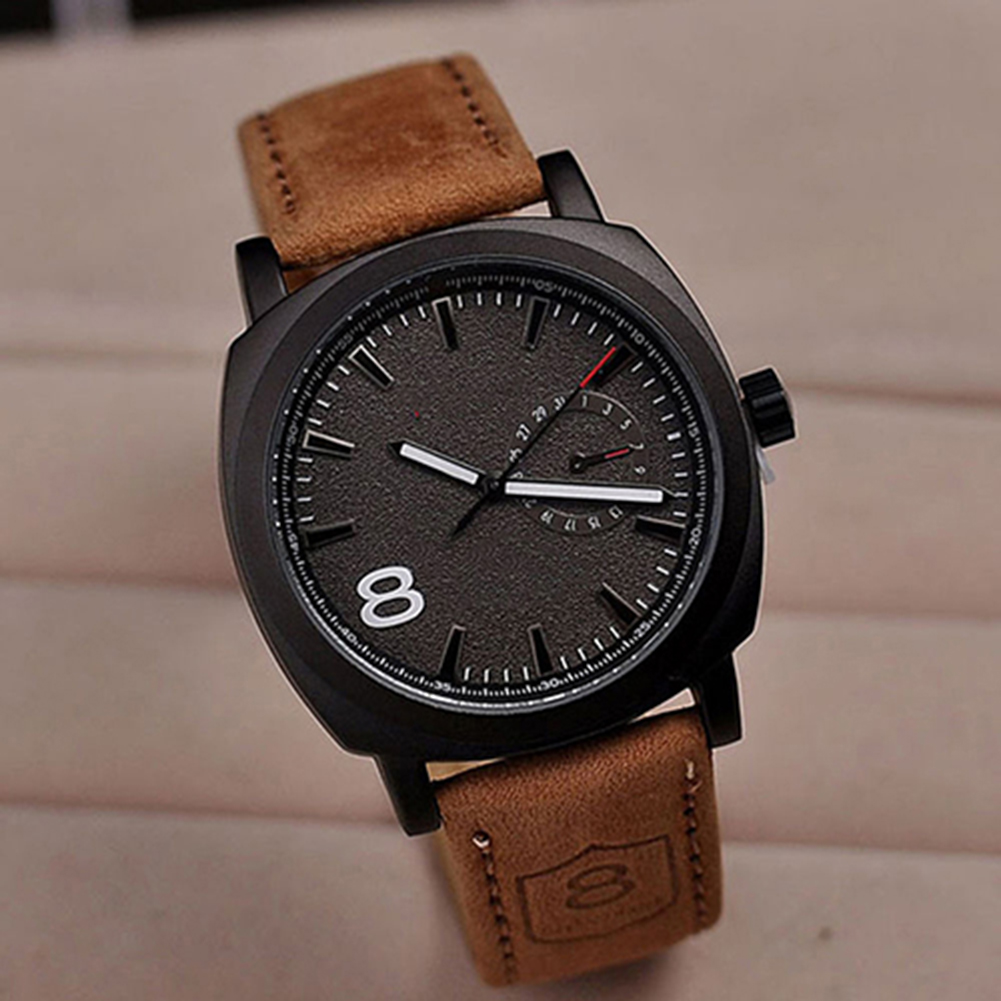 New Men Military Wrist Watch Faux Leather Strap Sport Quartz Analog Watch Gift