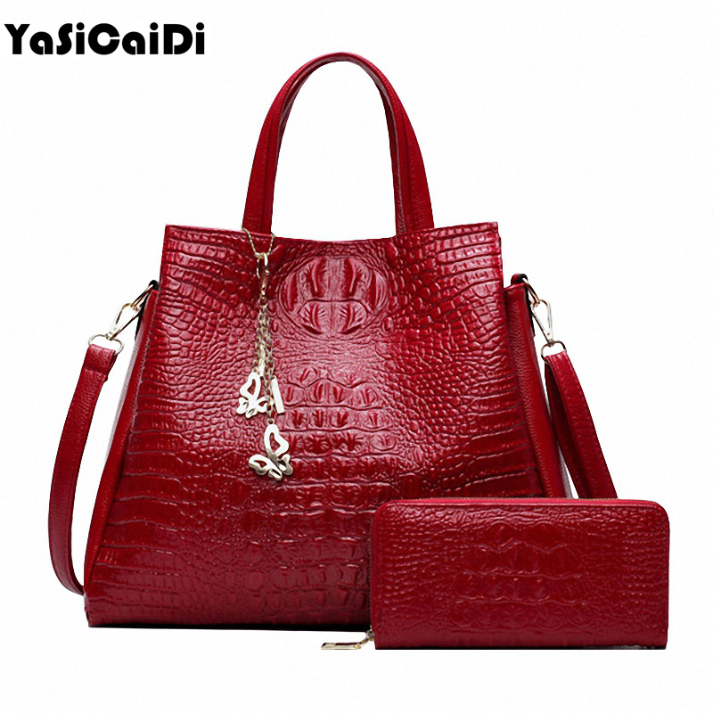 Fashion PU Leather Women Crocodile Pattern Messenger bags Two font b Set b font Purse and