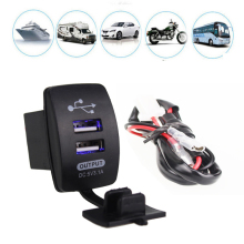 Universal Usb Car Charger 5V 3.1A Motorcycle Dual USB Power Port Socket Plug LED 12/24V With Cable Wire For Cell Phone