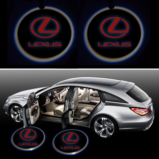 Pack of 2 Lexus Logo Wireless LED Car Door Light Welcome Laser Light Logo Sticker Projector Emblem fits All Car BMW Audi