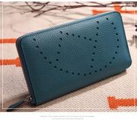 New Fashion Wonen Genuine Leather Wallet Lychee Grain Cowhide Leather Day Clutches Classic handbag Men Wallets Money B