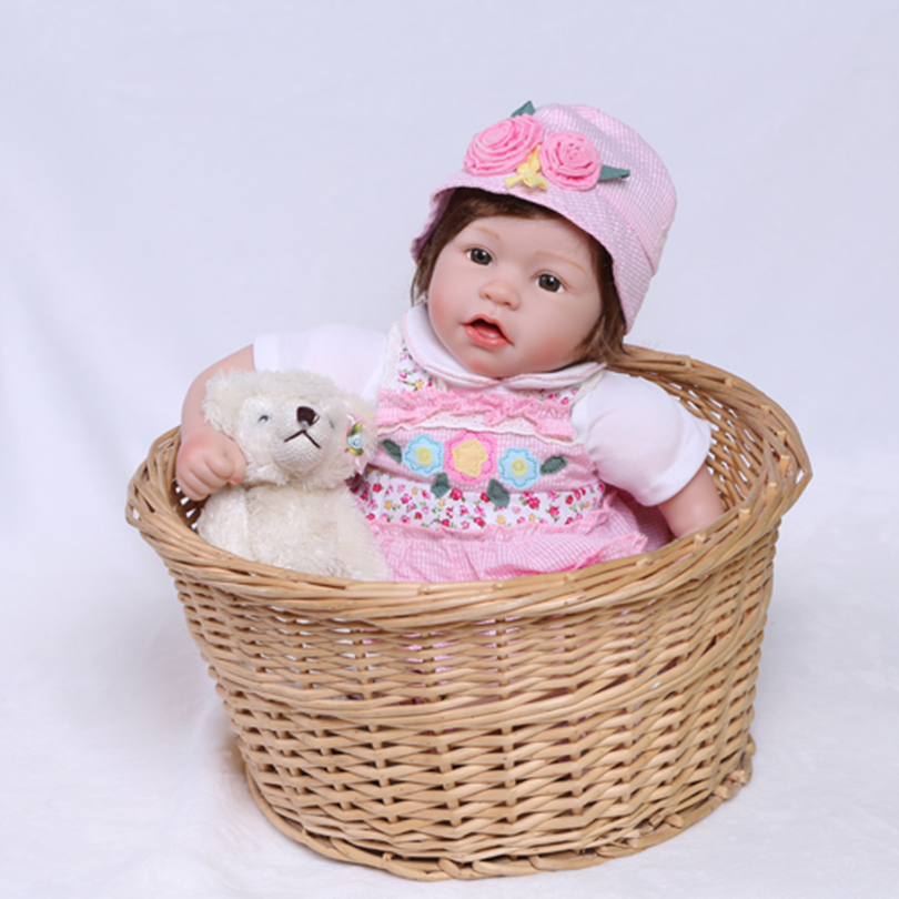 55cm Silicone reborn baby girl doll toy lifelike 22inch newborn toddler princess babies doll bebe reborn girls bonecas lovely gi 55cm silicone reborn baby doll toy lifelike newborn toddler princess babies doll with bear girls bonecas birthday gift present