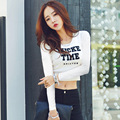 Crop Tops Women T-shirt  Long Sleeve Slim Female Letter Print O-neck Korean Style T-Shirt Cotton New Plus Size Tshirt V16560
