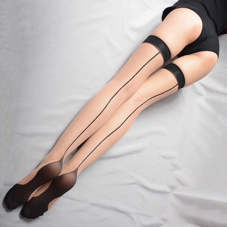 9fda3b0c1 ... Women back seam Sexy Stockings Thigh High black sheer lace top thin  over Knee High Stockings