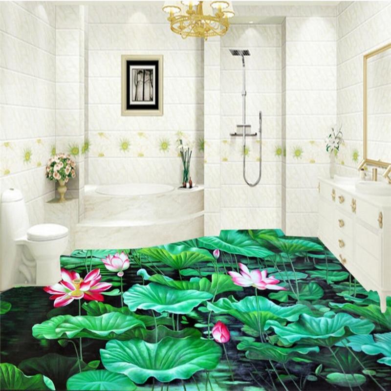 Beibehang photo lantai 3D lukisan luar ruangan bunga teratai kolam cahaya  bulan tiga dimensi kreatif lantai kamar mandi|floor 3d|bathroom floor3d  flooring - AliExpress