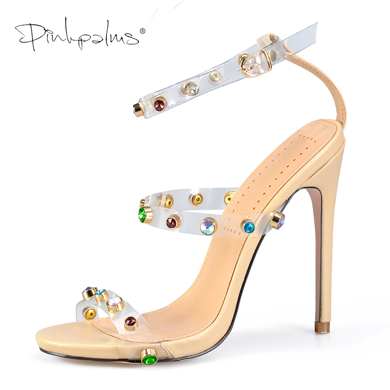Pinkpalms Shoes Women Sandals Celebrity Wearing Trend 2019 PVC Clear Transparent Strappy Heels Rhinestone Sandals High Heels