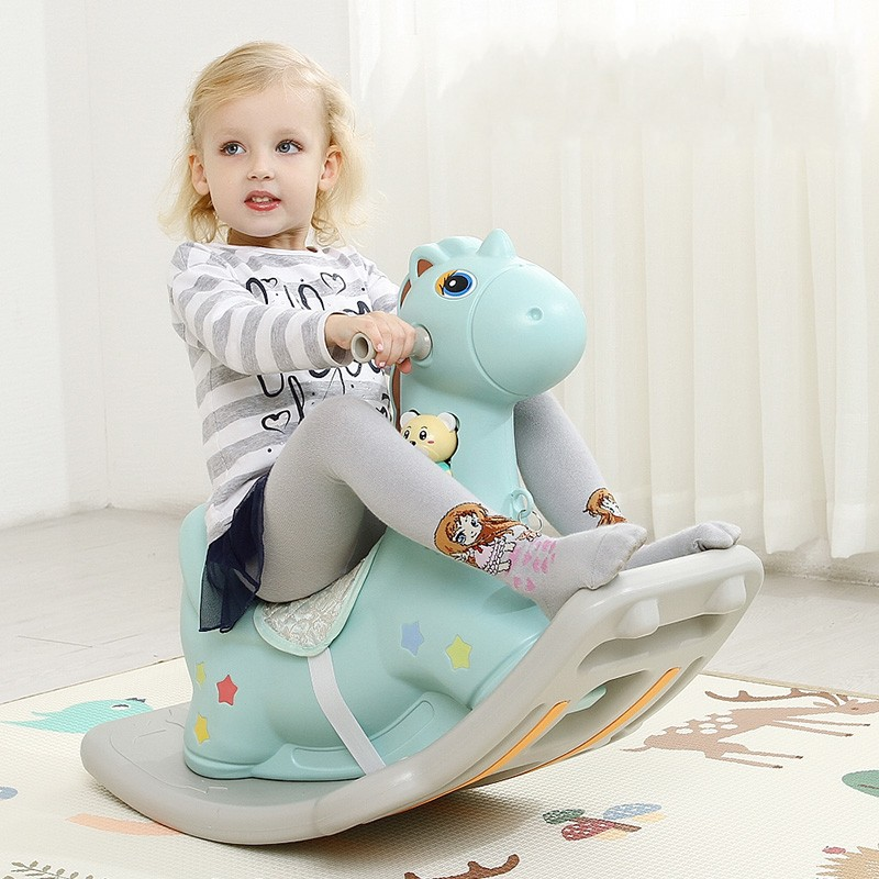 New Design Thickening Plastic Rocking Horse Children's Toddler Baby Room Toy Rocking Bouncer Ride on Horse Safe Rocking Chair