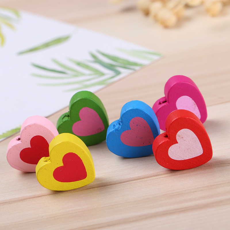 60pcs/lot DIY Colorful Painted Heart Shape Beads Wooden Spacer Beads For Kids Jewelry Wood Craft MR 004