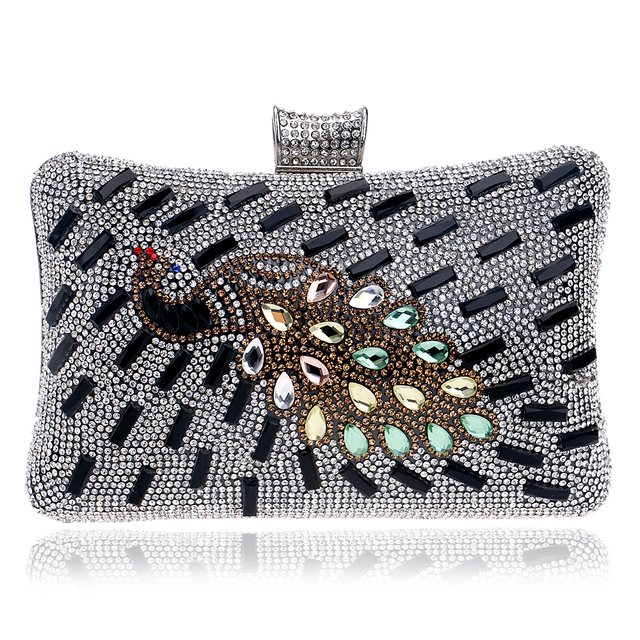 Peacock rhinestones women evening bags one side gold/silver/black chain shoulder handbags lady messenger clutch bags